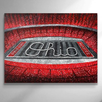 Ohio State Football Stadium Scarlet and Gray Canvas Art
