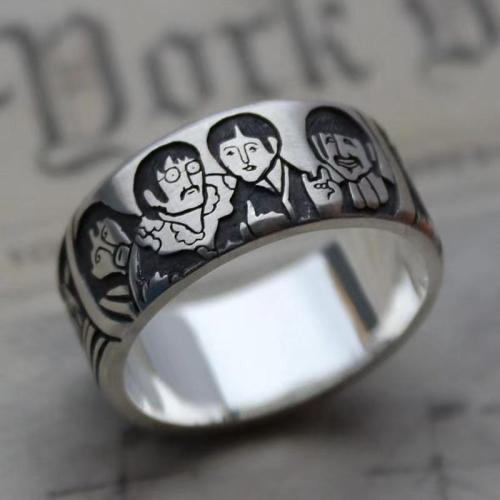Silver ring Beatles wide minimalist