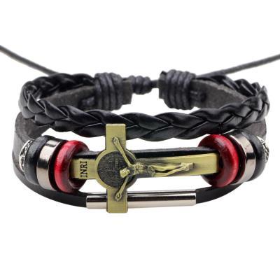 Jesus Cross Leather Bracelet