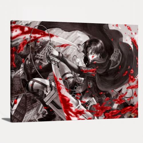 Attack on Titan Blood Captain Levi Ackerman Cartoon Anime Canvas Wall Art