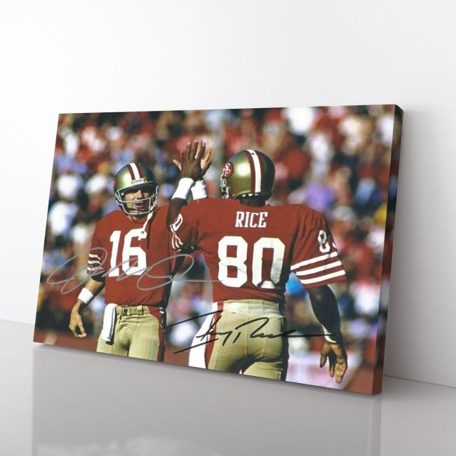 Joe Montana, Jerry Rice, San Francisco 49ers Canvas Wall Art