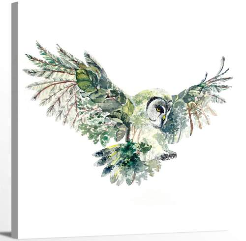 Flying Owl with Trees Leaves Nature Animal Illusion Canvas Wall Art