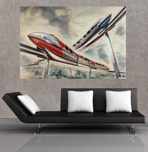 Walt Disney Monorail Concept Signed Print Canvas art