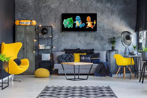 Bulbasaur Squirtle and Charmander Glow Neon Poster Canvas Print Wall Art