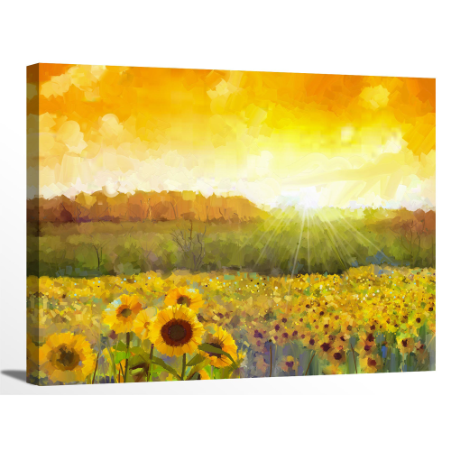 Sunflower Blossom Sunset Landscape Canvas Wall Art