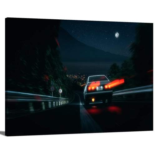 Initial D Toyota AE86 Night Downhill Cartoon Movie Scene Canvas Print Wall Art