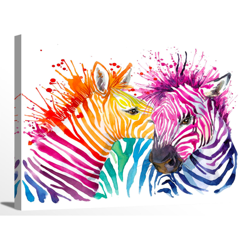 Rainbow Colorful Zebra Watercolor Painting Canvas Print Wall Art