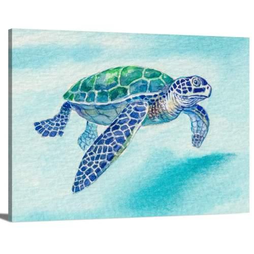 Watercolor Portrait of Sea Turtle in Blue Ocean Background Animal Canvas Print Wall Art