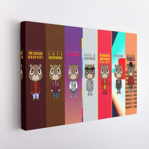 Kanye West Albums Poster Canvas Wall Art-V3