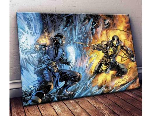 Sub-Zero Vs Scorpion Mortal Kombat Movie Art Print Canvas