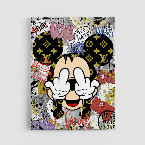 Mickey Punch Love Or Hate Canvas Wall Art
