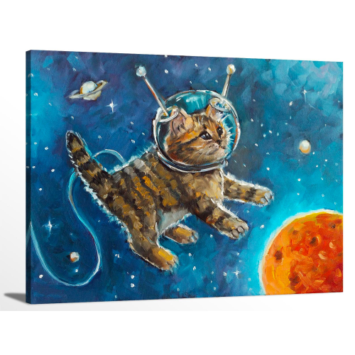 Cute Kitten Cat Astronaut Oil Painting Space Animal Artwork Canvas Print Wall Art