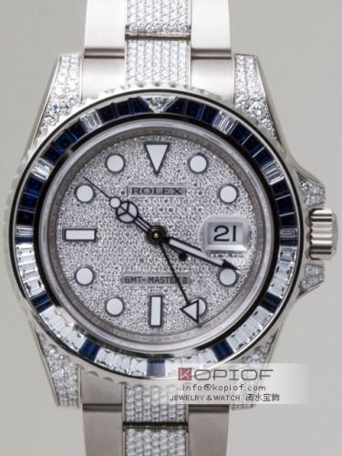 ロレックス GMTマスターII スーパーコピー116759SADP サファイヤ・ダイヤベゼル ブレス・ラグダイヤ 全面ダイヤ