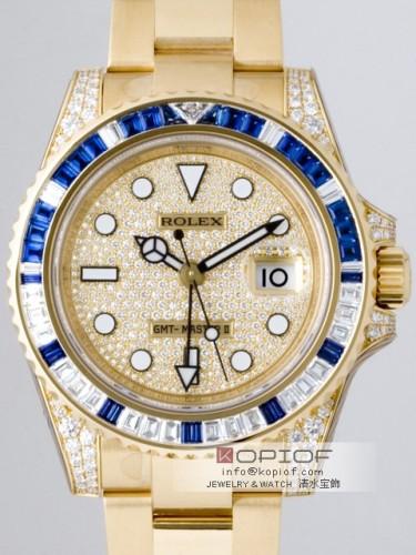 ロレックス GMTマスターII スーパーコピー116758SADP サファイヤダイヤベゼル 全面ダイヤ