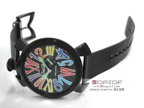 ガガミラノ スリム46MM スーパーコピークォーツ 5082.1 SS(PVD)ブレス ブラック/マルチカラーナンバー