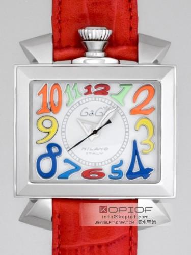 ガガミラノ ナポレオン46MM スーパーコピー自動巻き 6000.1 レッド皮 ホワイト/マルチカラーアラビア