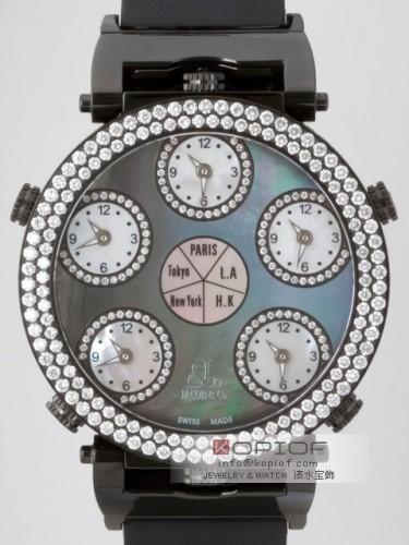 ジェイコブ シックスタイムゾーン スーパーコピーJC-LG1 2重ベゼルダイヤ 47mm ブラックシェル/ブラック