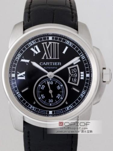 カルティエ カリブル スーパーコピーW7100014 SS ブラック皮 ブラック