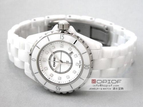 シャネルJ12 スーパーコピーH1628 ホワイトセラミックブレス 12Pダイヤ ホワイト