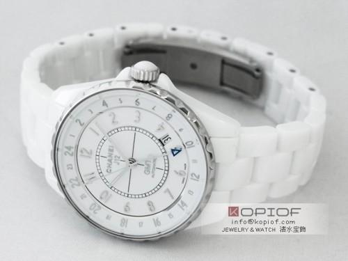 シャネルJ12 スーパーコピーH3103 38mm GMT ホワイトセラミック ホワイト