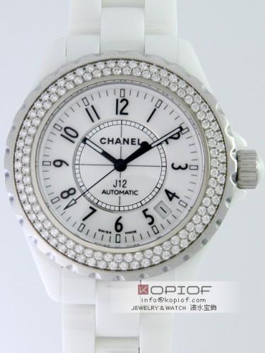 シャネルJ12 スーパーコピーH0969 38mm ホワイトセラミックブレス ベゼルダイヤ ホワイト