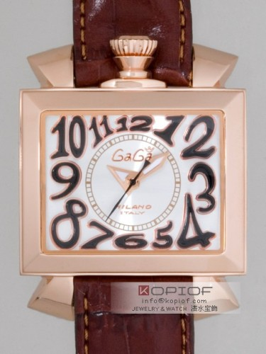ガガミラノ ナポレオン46MM スーパーコピー自動巻き 6001.3 ブラウン皮 シルバー/ブラックアラビア