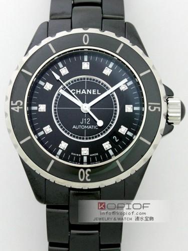 シャネルJ12 スーパーコピーH1626 ブラックセラミックブレス 12Pダイヤ ブラック