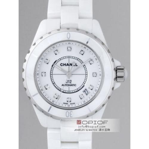 シャネルJ12 スーパーコピーH1629 38mm ホワイトセラミックブレス 12Pダイヤ ホワイト
