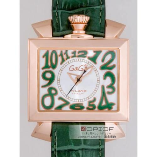 ガガミラノ ナポレオン46MM スーパーコピー自動巻き 6001.2 グリーン皮 シルバー/グリーンアラビア