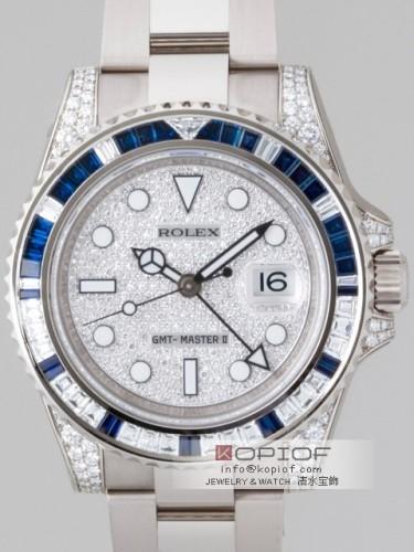 ロレックス GMTマスターII スーパーコピー116759SA サファイヤ・ダイヤベゼル ラグダイヤ 全面ダイヤ