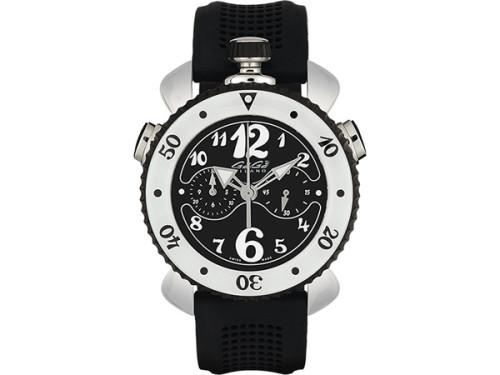 ガガミラノ クロノ45MM スーパーコピーステンレス ラバー 45 白/黒 男女兼用腕時計