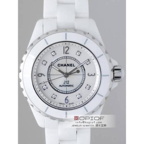 シャネルJ12 スーパーコピーH2423 38mm ホワイトセラミックブレス 8Pダイヤ ホワイトシェル