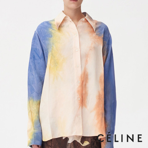 CELINE マスキュリンシャツ 絞り染めのビスコースツイル セリーヌコピー