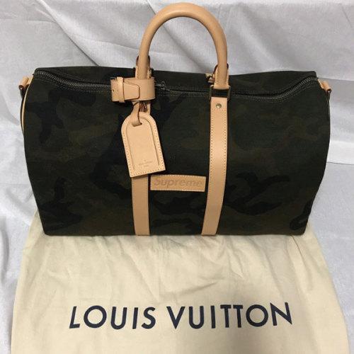 ルイヴィトン コピー Supreme Louis Vuitton Monogram M43466 キーポル バンドリエール45 モノグラム カモフラージュ ボストンバッグ コットン ヌメ革 グリーン ユニセックス