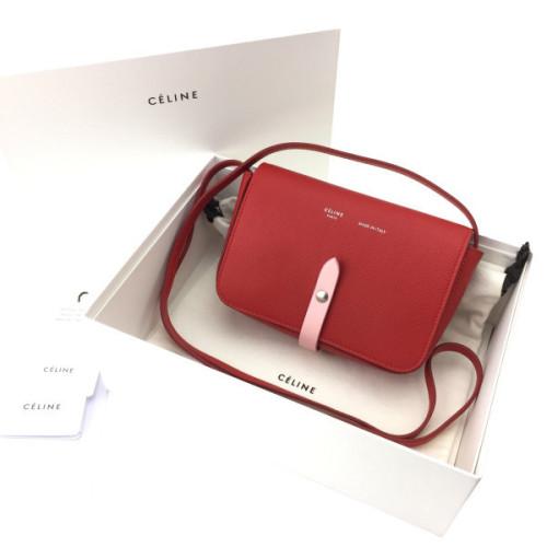 CELINE ショルダーバッグ ポシェット ベルト装飾 赤レッド 109503AI5.38BJストラップ付ポシェット セリーヌコピー