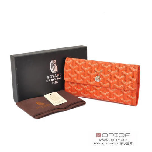 ゴヤール 財布 スーパーコピー長財布 三つ折り ホック オレンジ go113