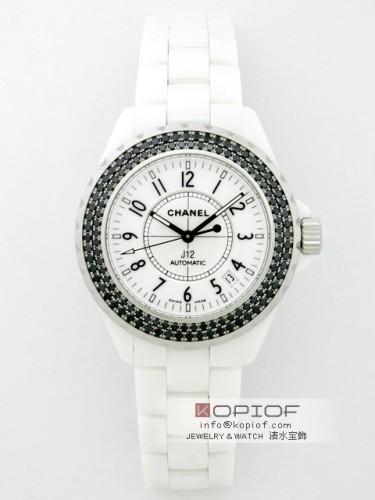 シャネルJ12 スーパーコピーH0970 38mm ホワイトセラミックブレス ベゼルブラックダイヤアフター ホワイト