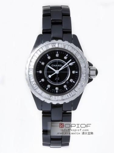 シャネルJ12 スーパーコピーH1625 33mm ブラックセラミックブレス 12Pダイヤ ベゼルバケットカットダイヤアフター ブラッ