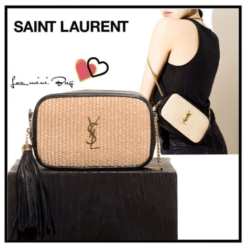 ☆Saint Laurent☆サンローラン ミニバッグ コピー 流行の異素材Mix mini Lou bag in raffia セール 612563FE9CW9078