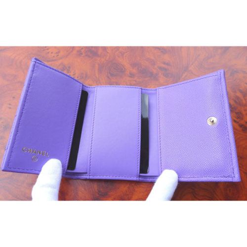 シャネルミニ財布 コピー CHANEL 三つ折り ナノウォレット キャビア バイオレット