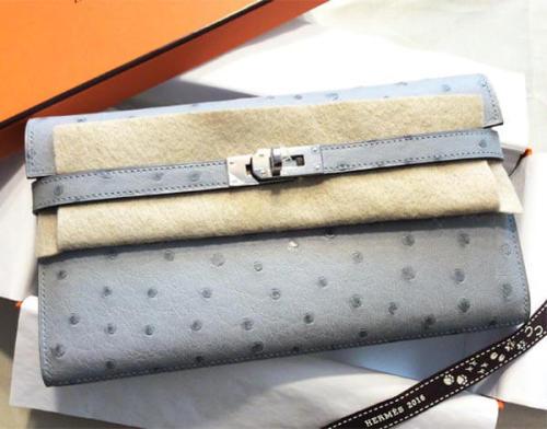エルメス 財布 コピー ケリーウォレット オーストリッチ Bleu Glacier S金具