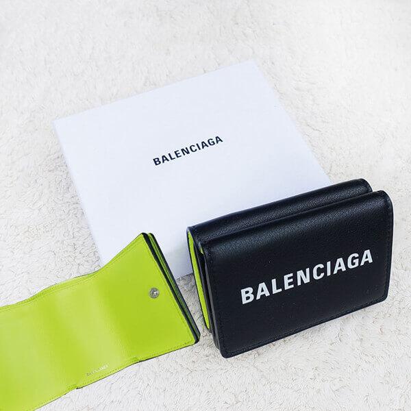 バレンシアガ ミニ財布 コピー BALENCIAGA EVERYDAY 三つ折り財布 黒×イエロー エブリデイ ミニ ウォレット