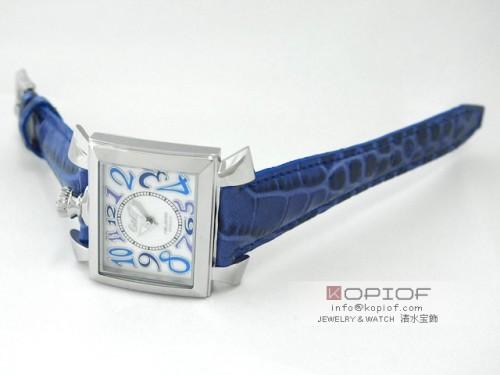 ガガミラノ ナポレオン40MM スーパーコピークォーツ 6030.3 ブルー皮 ホワイトシェル/ブルーカラーアラビア