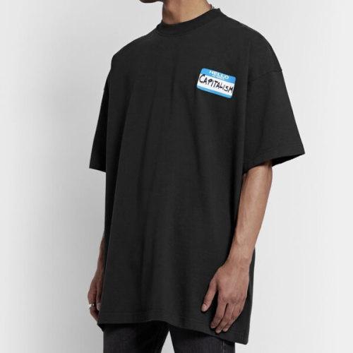 ヴェトモン tシャツ 偽物 VETEMENTS オーバーサイズ 刺繍入り プリント コットン Tシャツ