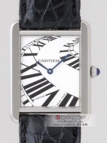 カルティエ タンクソロ スーパーコピーW5200017 SSLMブラック皮ベルト ホワイト インデックスアニメーション