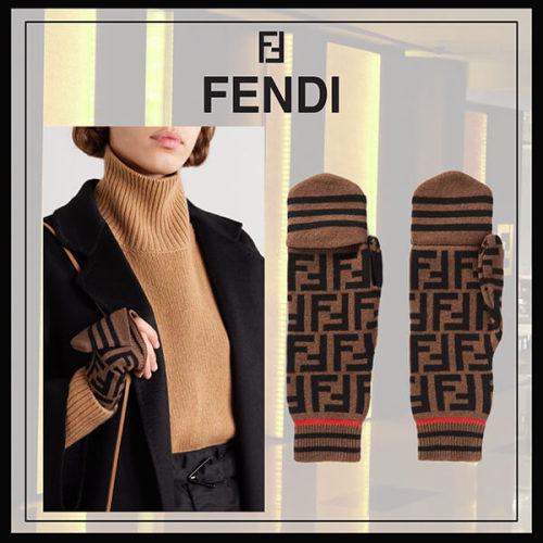 FENDI カシミヤウールブレンド 手袋 ミトン brown