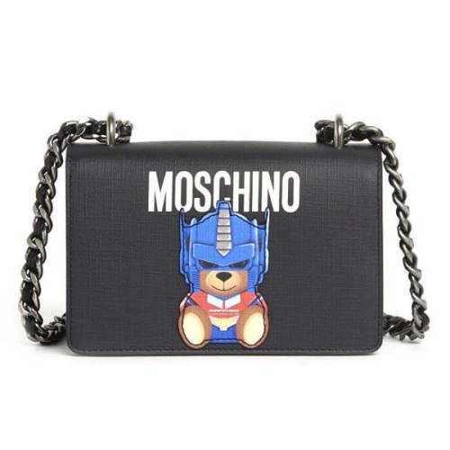 Moschino コピー ショルダーバッグ bear プリントチェーン ストラップ