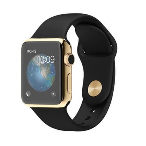 Apple Watch スーパーコピー38/42mm 18Kイエローゴールドケースとブラックスポーツバンド