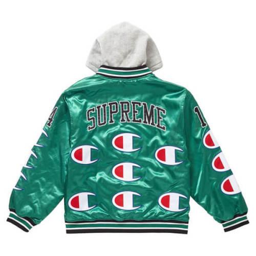 supreme champion 偽物 シュプリーム ボックス ロゴ パーカー Hooded Satin Varsity Jacket Kelly Green