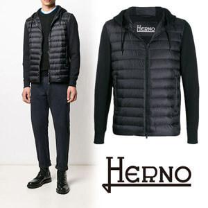 HERNO ヘルノ偽物フーデッド パデットジャケット black